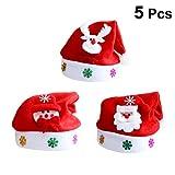 STOBOK 5pcs Light Up Christmas Hat LED Sombrero de Santa con Papá Noel Muñeco de Nieve Aplique para Adultos Niños Favores de la Fiesta navideñ