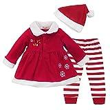 CHICTRY Disfraz Navidad Bebe Conjuntos 3Pcs Ropa Otoño Vestido Fiesta Manga Larga + Pantalones Rayado+ Gorro de Navidad Chaqueta Invierno para Bebé Niña Rojo 12-18 M