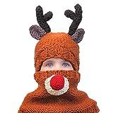 Fontee Conjuntos de Gorro y Bufanda para niñas y niños, 1 Juego Sombrero de Ganchillo navideño para niños Gorro de Punto Gorro cálido con Bufanda de Ganchillo Chal Traje para Navidad, Alc