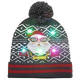 awhao-123 Sombrero de Punto Luminoso Patrón de Dibujos Animados Sombrero de Lana Gorro de Punto de Navidad para Hombres y Mujeres Various Occasi
