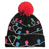 POLP Mujeres Regalo Hombre Gorro de luz LED de Punto para Mujer Navidad navideña Gorro navideño navideña Sombrero de Navidad Gorros de Fiesta Accesorios para Fiestas Punto Hat Invi
